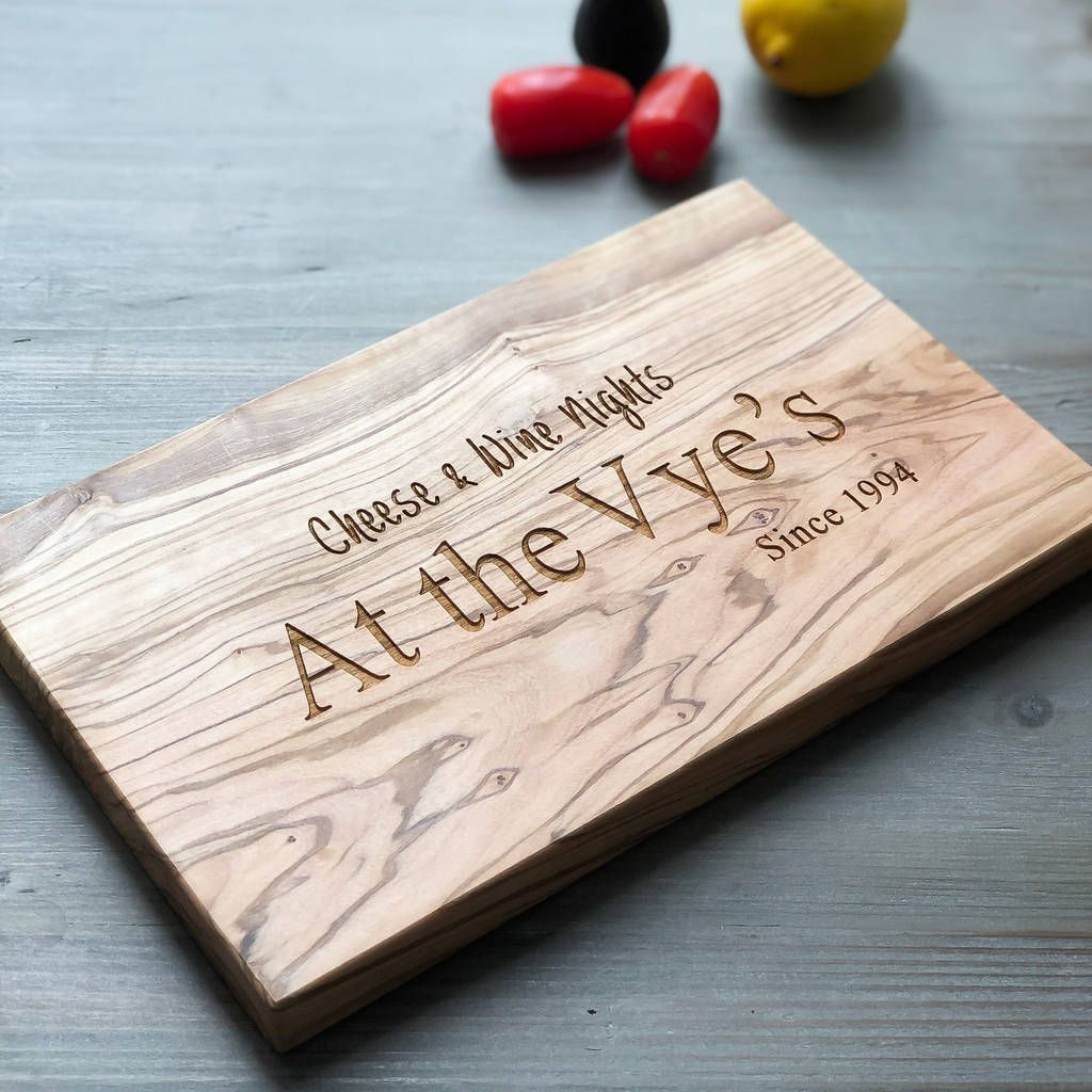 Personalised bamboo cheese board this engraved wooden board has custom pyrography to make a special wedding gift with monogram initials