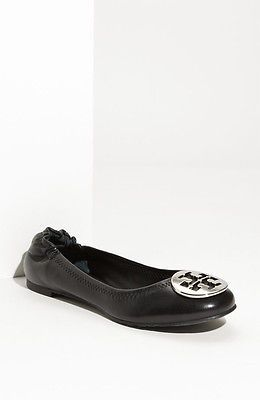 2f0ac9d6cd30 Tory Burch Reva Black Ballet Flat with Silver Logo Size 8 5