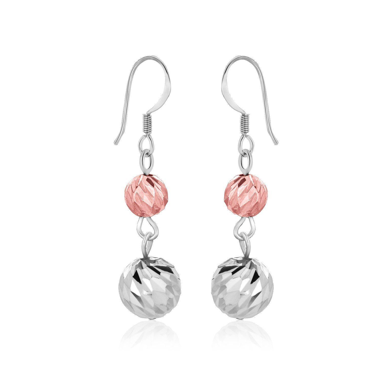 Sterling Silver Rose Tone Textured Ball Shape Dangling Earrings