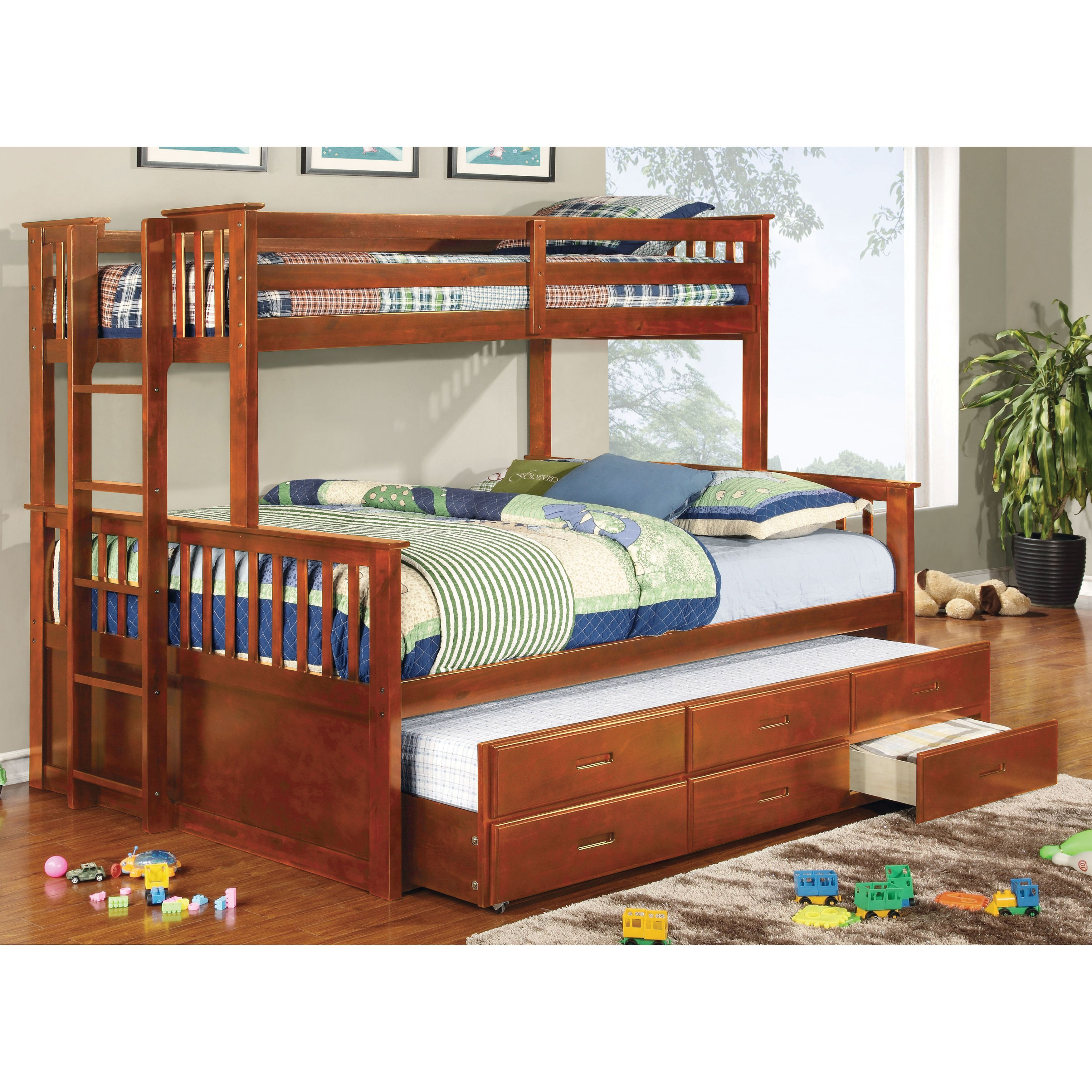 Queen size loft bed with stairs  Maximize the space in any small bedroom with this bunk bed set from
