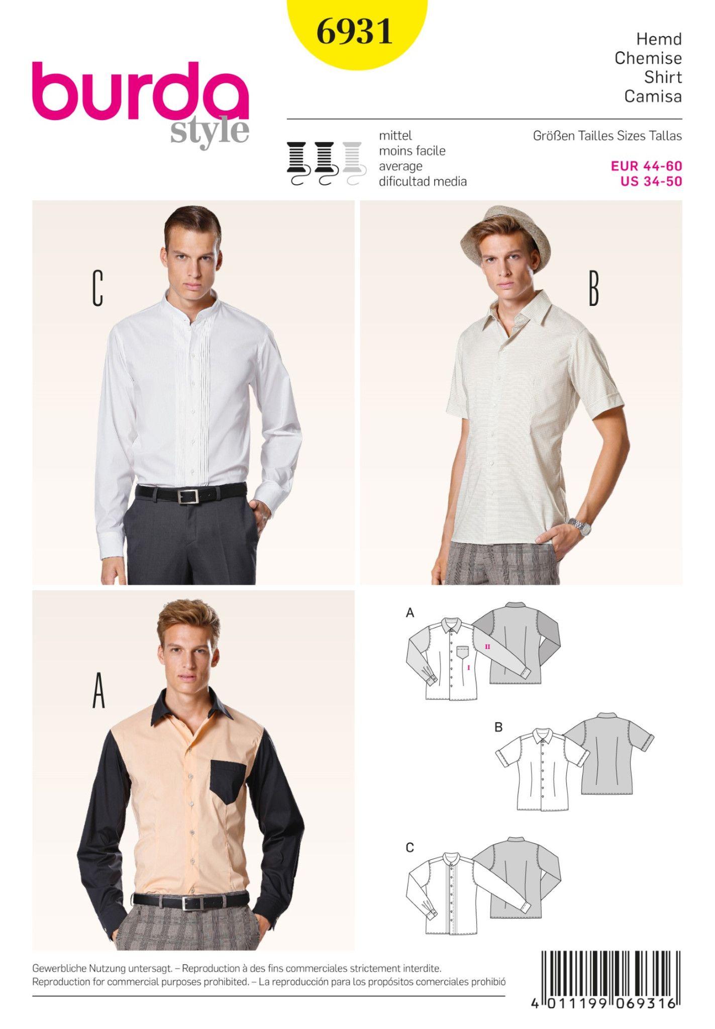 Burda Sewing Pattern: BD6931 Men\'s Shirts | Average — jaycotts.co.uk ...
