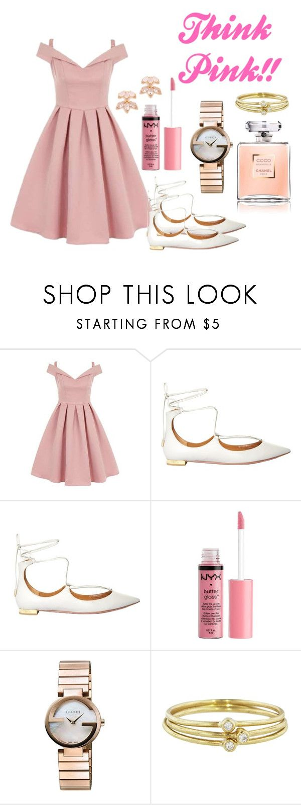"""Think Pink!!"" by lana-246 ❤ liked on Polyvore featuring Chi Chi, Aquazzura, Charlotte Russe, Gucci, Jennifer Meyer Jewelry and Kate Spade"
