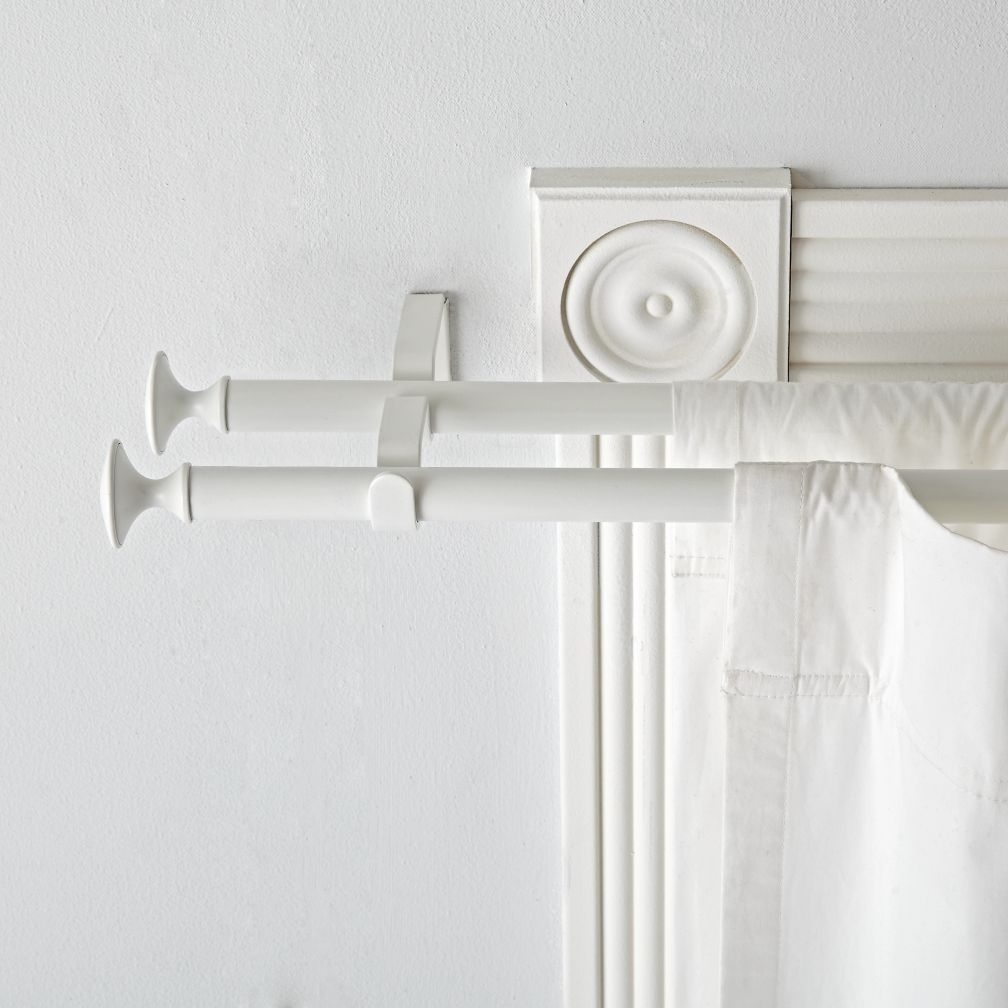 Double White Curtain Rod White Curtain Rod White Curtains Double Curtains