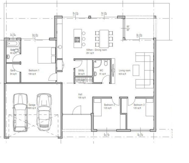 Plano De Casa De Una Planta Moderna Con 3 Dormitorios Y 2 Garaje Planos De Casas Planos De Casas Planos De Casas Minimalistas Casas Prefabricadas Modernas