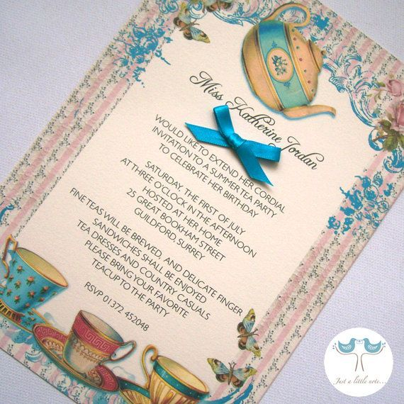 Afternoon Tea Invitation £200, via Etsy Afternoon Tea - invitation letter for home party