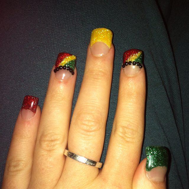 Rasta nails by me | Nails | Pinterest | Rasta nails, Makeup and ...