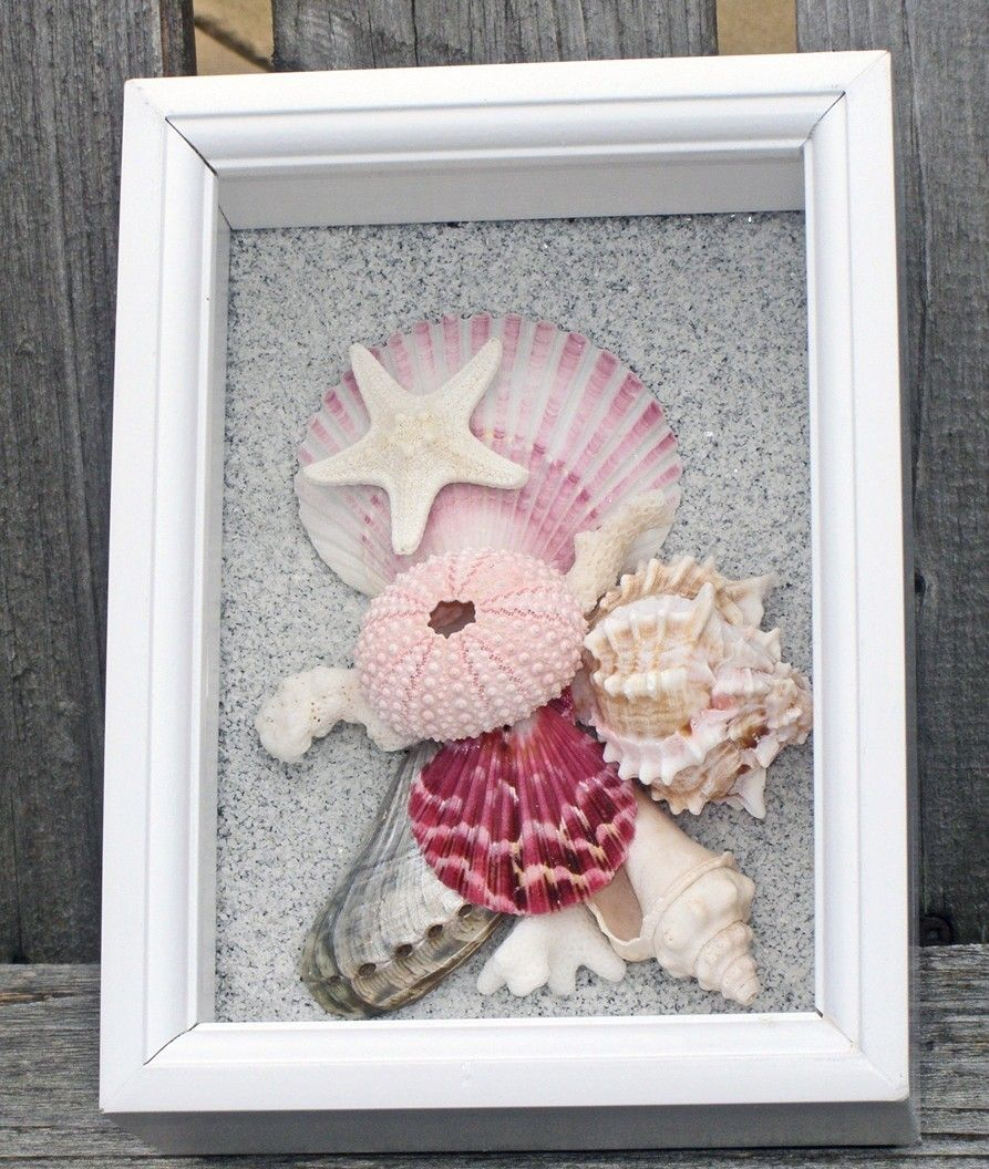Beach Theme Home Decor Shadow Box Beach Gift: Would Love To Do This With All Our Shells From Our Trip To