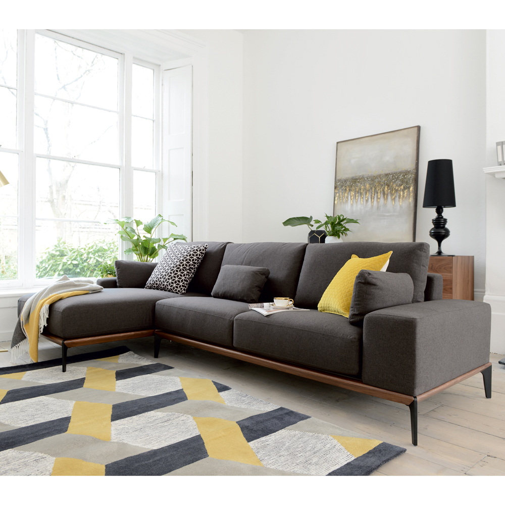 Malmo Left Hand Corner Sofa Dark Grey Grey Sofa Living Room Corner Sofa Living Room Dark Grey Sofa Living Room