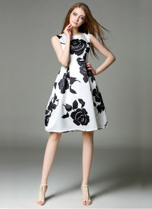 New White & Black Raw Silk Printed Western Dress