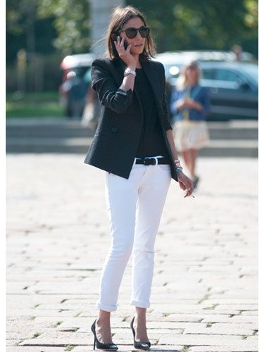 How to wear white jeans in the colder months  Look  1 Back To Black.  2 Add  Print And Texture.  3 Shine In Metallic! 9d93f4867a