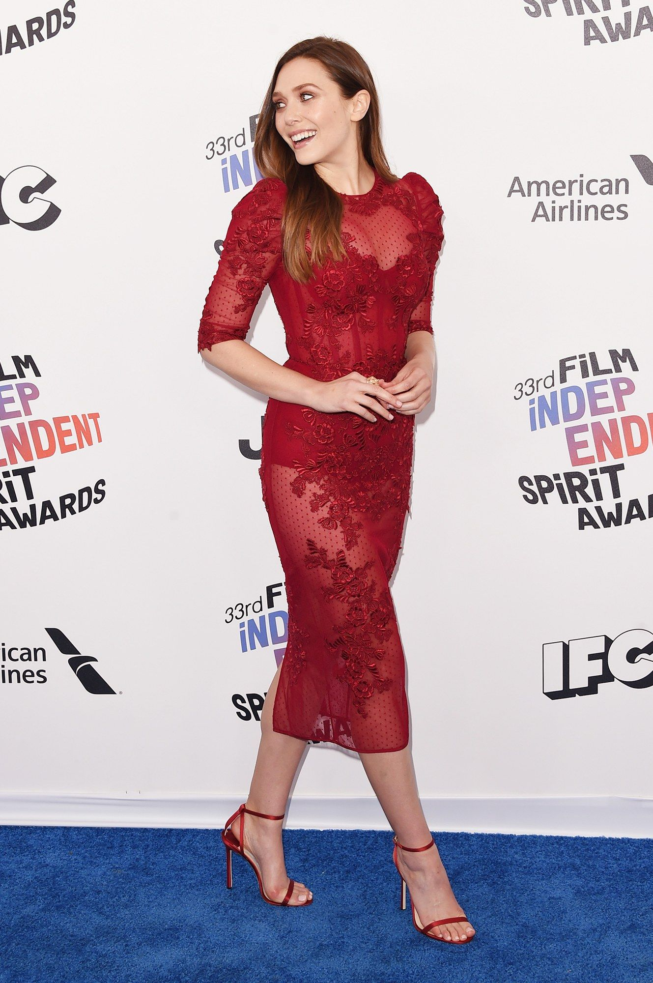 c8e7ac2428b 2018 Independent Spirit Awards  Elizabeth Olsen in Zuhair Murad ...