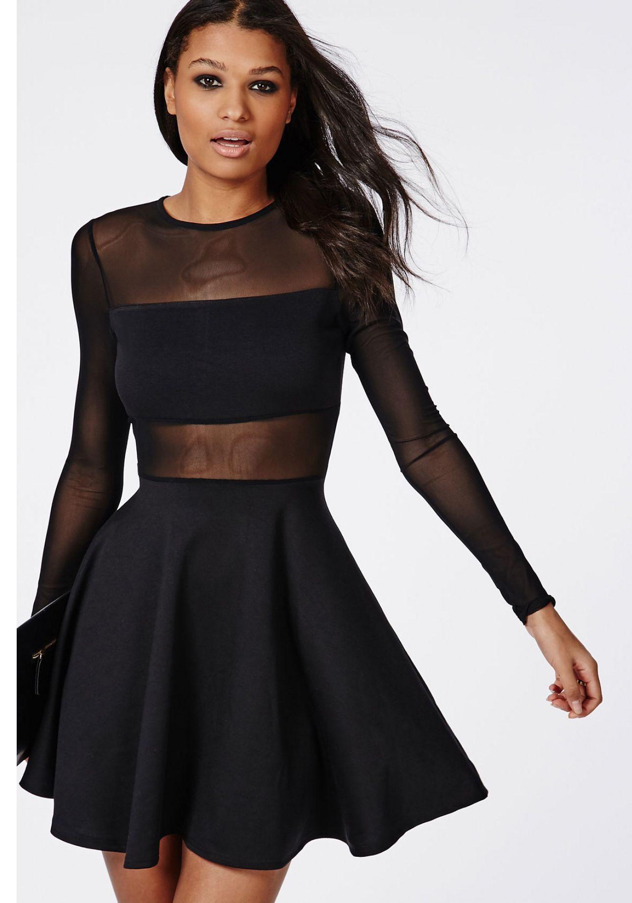 Vestidos cortos negros de manga larga