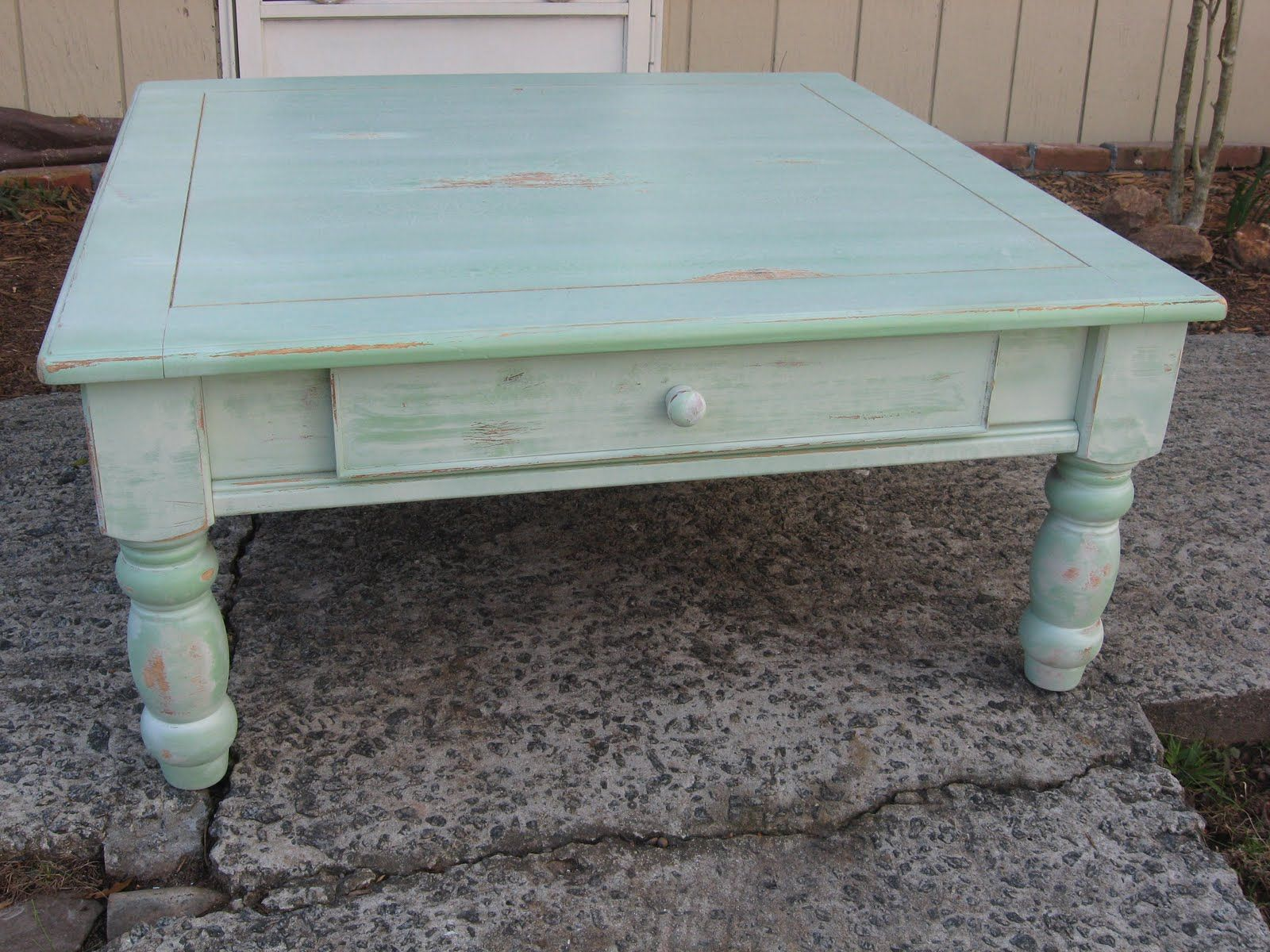 white green table Green whitewash Coffee Table Sold