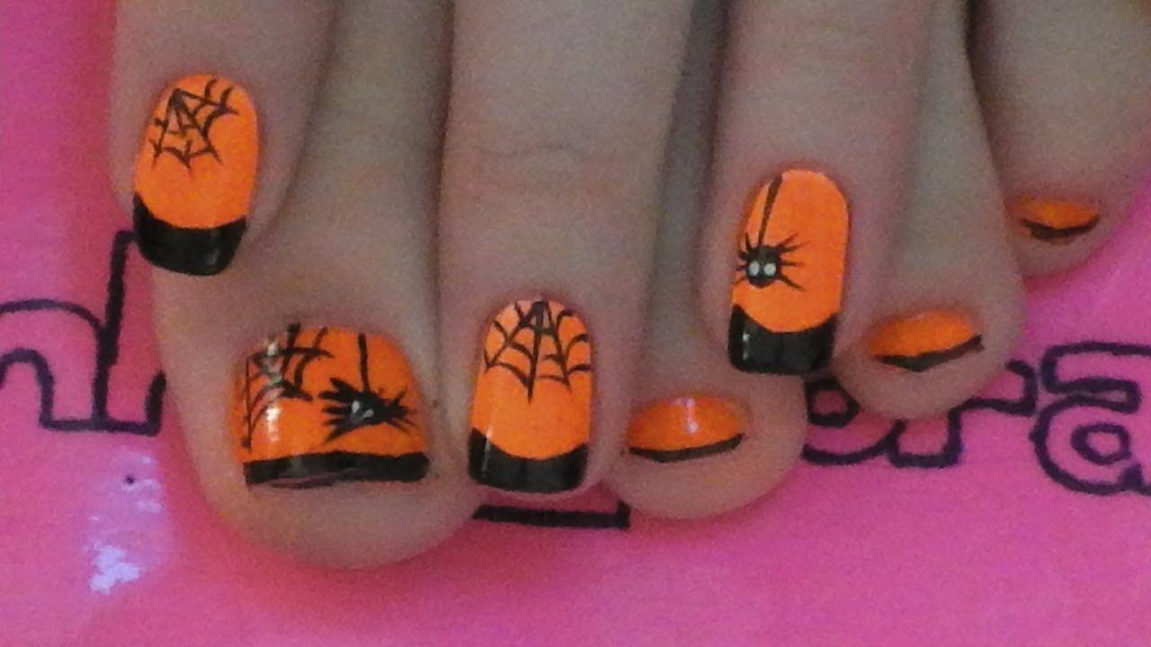 Spider And Web Toe Nail Art Tutorial For Halloween Halloween Toe Nails Pumpkin Nail Art Nail Art For Kids