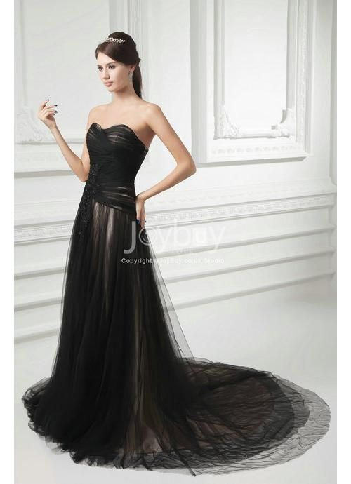 Sweetheart Applique A-Line Tulle Black Wedding Dress | Wedding ...