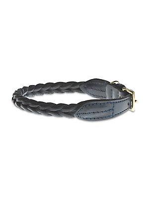Mungo & Maud Adjustable Braided Leather Dog Collar - No Color
