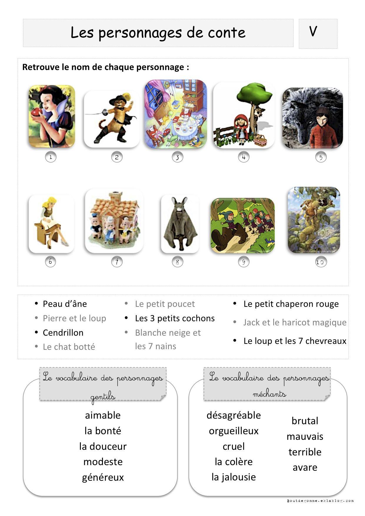 Les personnages de conte primaire fran ais 7 contes et - Dictionnaire cuisine francais ...