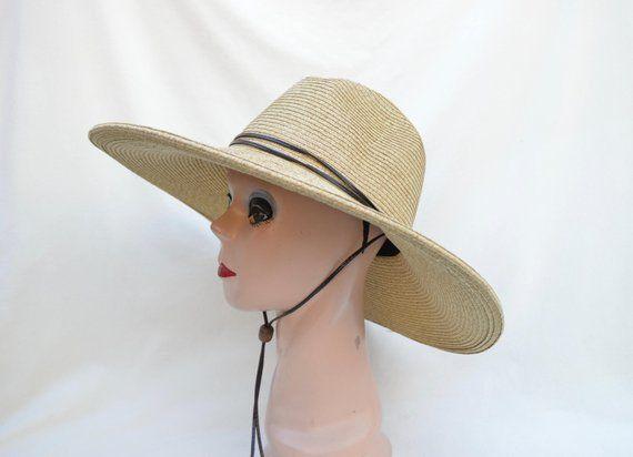 38d58b399 Women's Large Brim Tan Fedora Style Sun Hat With Chin Cord /Women's ...