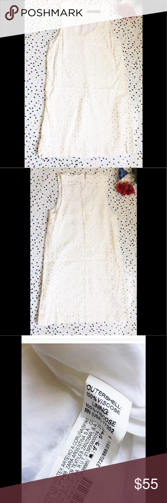 """Zara Women Crewneck Cream Short Dress Size Medium Zara Women Cream Short Dress Size Medium Length:31""""  Armpit to armpit:14""""  Has minor signs of wear, the zipper might give trouble going up(not all time or major, just putting it out there)   Check out my other items! Zara Dresses"""