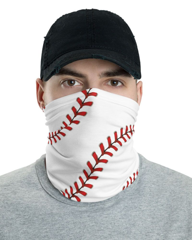 Baseball Stitches Face Mask Neck Gaiter Designed By Squeaky Chimp Tshirts Leggings In 2020 Neck Gaiter Baseball Stitch Face Mask