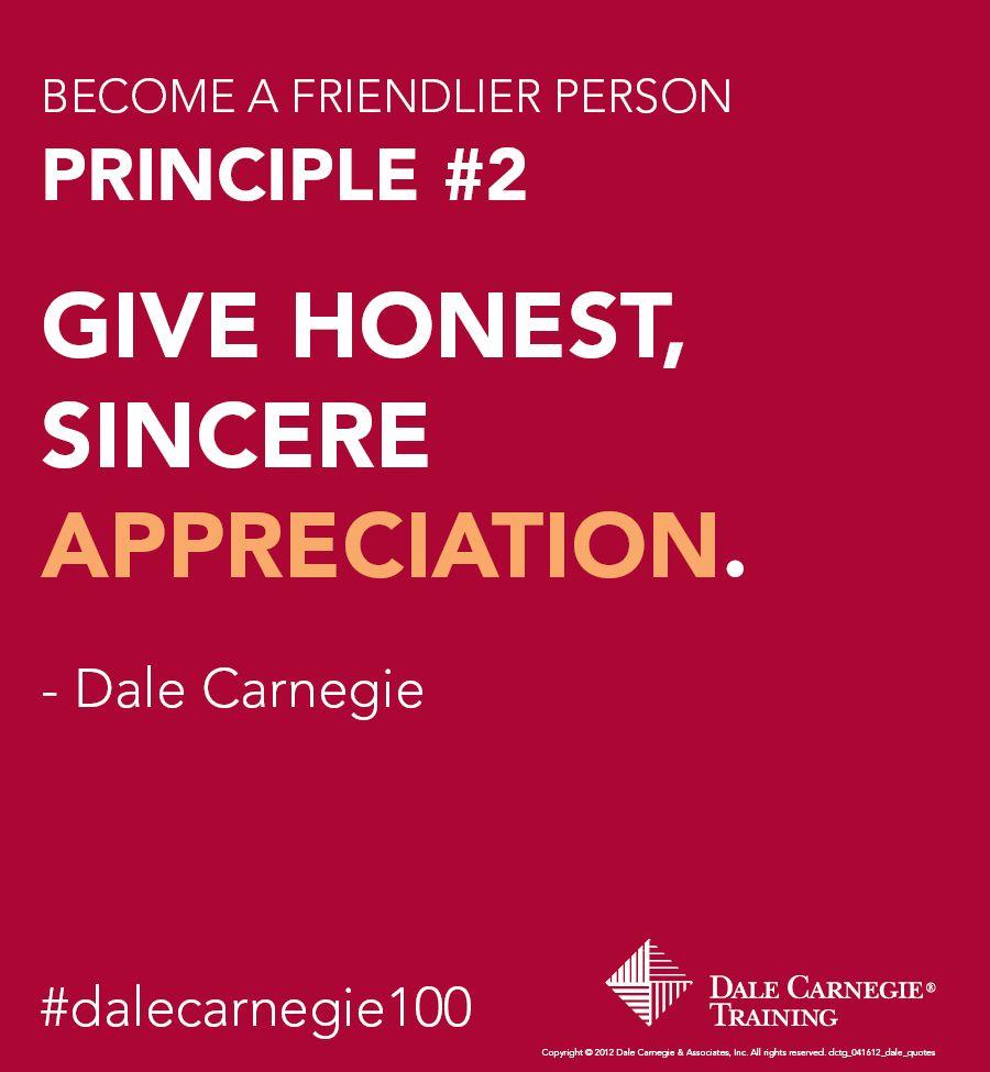 Dale Carnegie Principle 2 Give honest, sincere