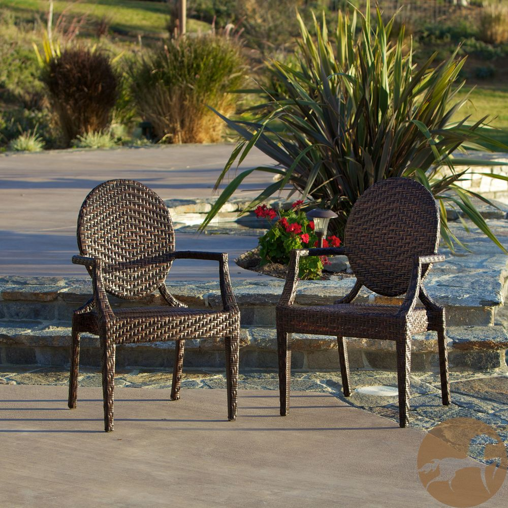 Adriana PE Wicker Outdoor Chairs Set of 2 by Christopher Knight Home by Chr