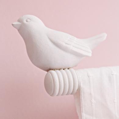 Curtain Accessories Curtain Rod White Bird Finials In
