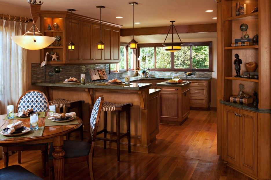 Modern Craftsman Style Interiors with Comfortable Living Room     Modern Craftsman Style Interiors with Comfortable Living Room  Fantastic  Craftsman Style Interiors Design Used Wooden Material In The Open Kitchen  Dining