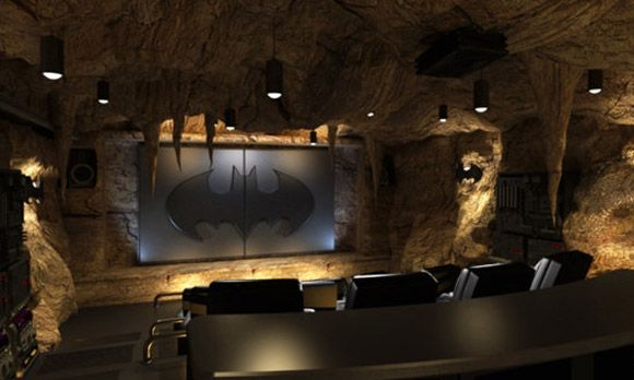 How sweet is this. Not necessarily a huge Batman fan, but this is just sweet! Batcave home theater (© Courtesy of Elite Home Theater Seating)