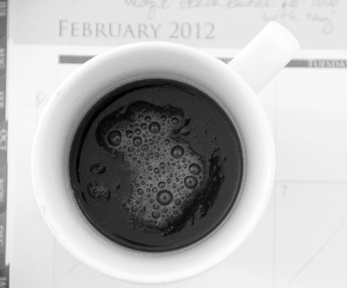 Seen on http://alisaburke.blogspot.com/  The perfect cup of black coffee.