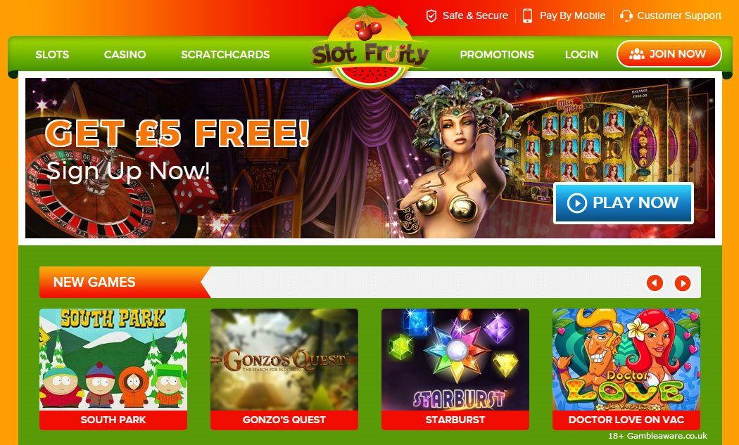 At SlotFruity Casino get £5 bonus slots No Deposit