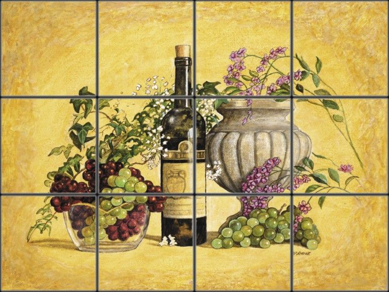 Mural Tiles For Kitchen Decor Wine Bottle And Grapes Tile Mural  Pacifica Tile Art Studio