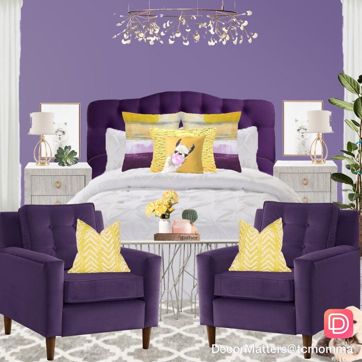 Yellow And Purple Interior Color Scheme Bedroom Design I Love The