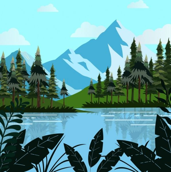 Natural Landscape Drawing Mountain Lake Trees Decoration Landscape Drawings Mountain Drawing Nature Illustration