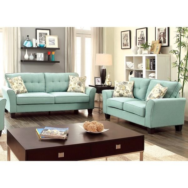 Furniture of America Primavera Modern 2-Piece Linen Loveseat and ...