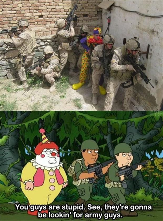 clown army guys | Funny couple pictures, Funny pictures for kids ...