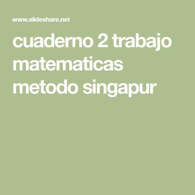 cuaderno 2 trabajo matematicas metodo singapur | MATES | Pinterest