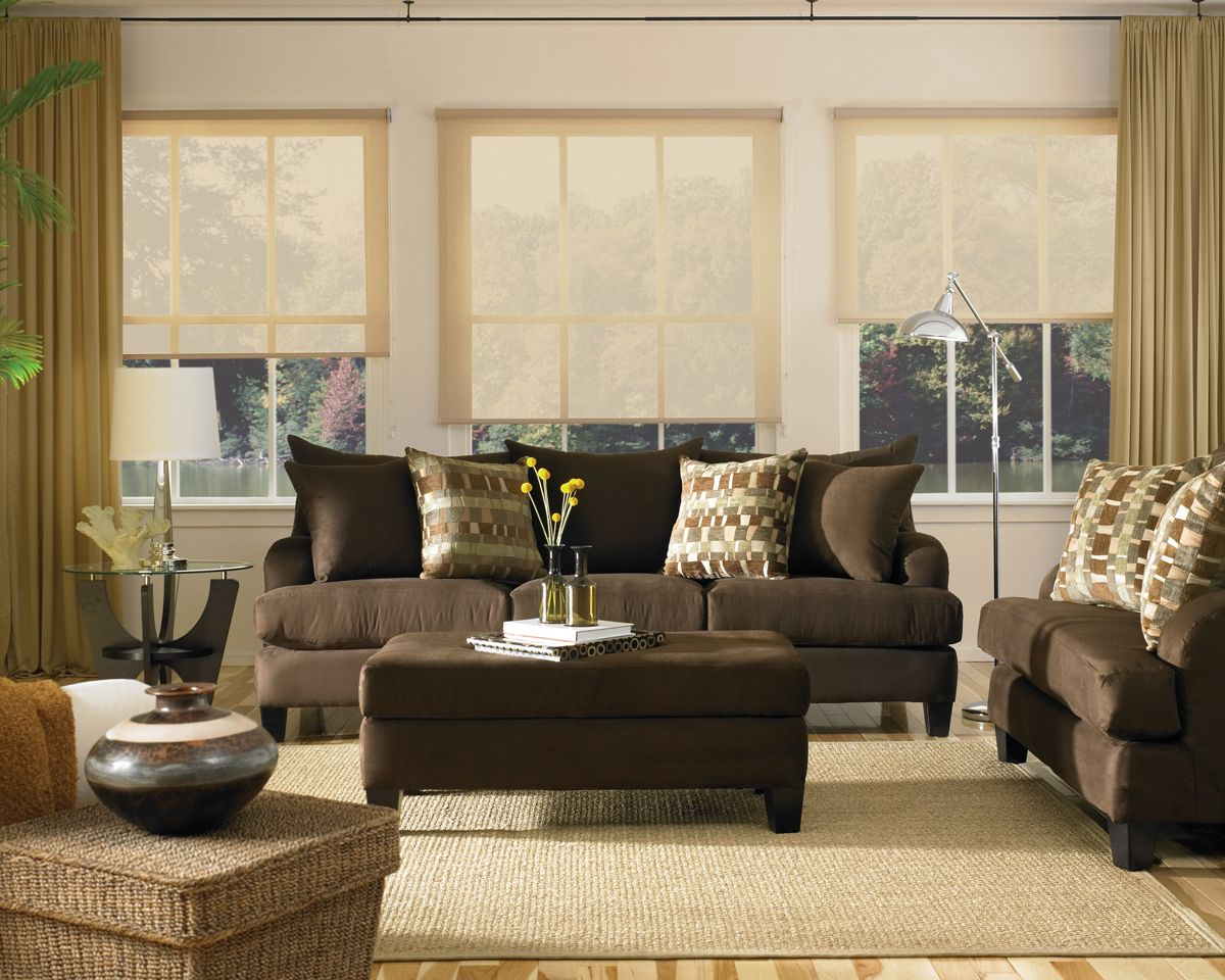 Modern elegant living room has a sofa that is big and beautiful and - Room Living Room Ideas With Brown Sofas