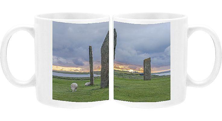 Photo Mug-Stones of Stenness, Orkney Island, Scotland, UK-Ceramic dishwasher safe mug made in the UK