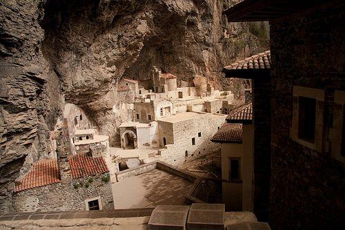 Viewing the interior of Sumela Monastery, NE Turkey
