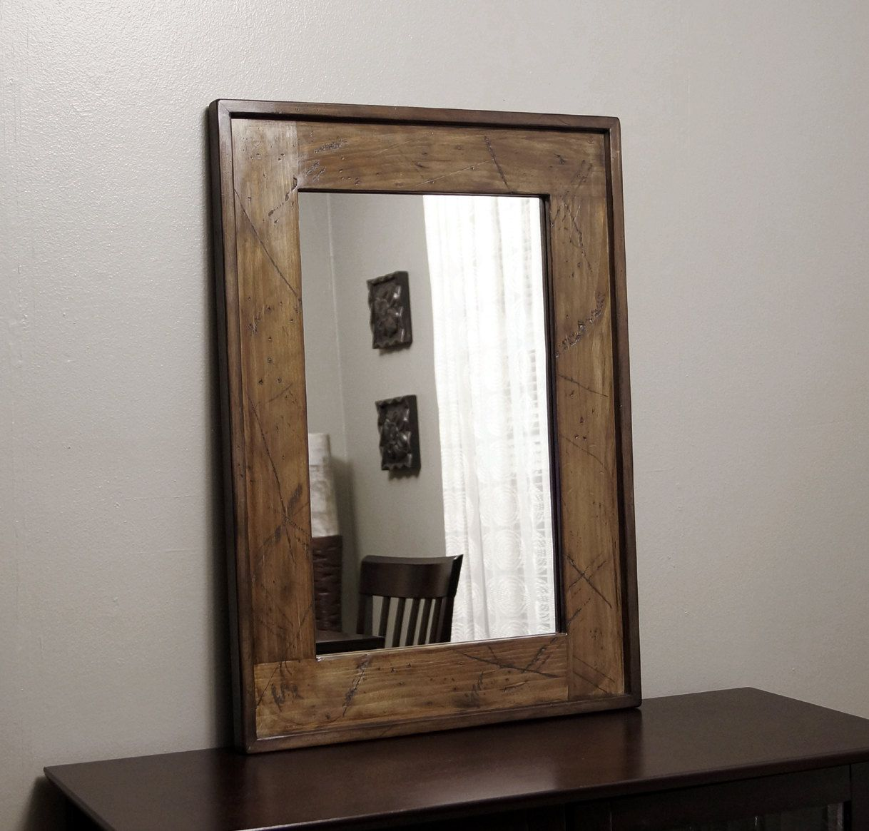 Rustic Framed Mirror Distressed Wood Brown Wall Decor