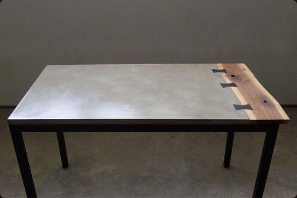 Concrete Walnut And Steel Table Concrete Furniture Design