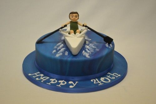 Round Cake With Rowing Boat Topper Bakery Ideas Boat