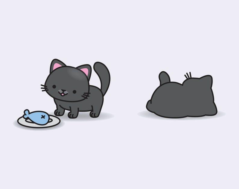 Premium Vector Clipart Kawaii Black Cats Cute Black Cats Etsy In 2020 Cute Black Cats Cat Vector Black Cat Images