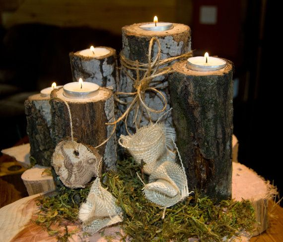 Tea light wood branch tree slice candle holders fall