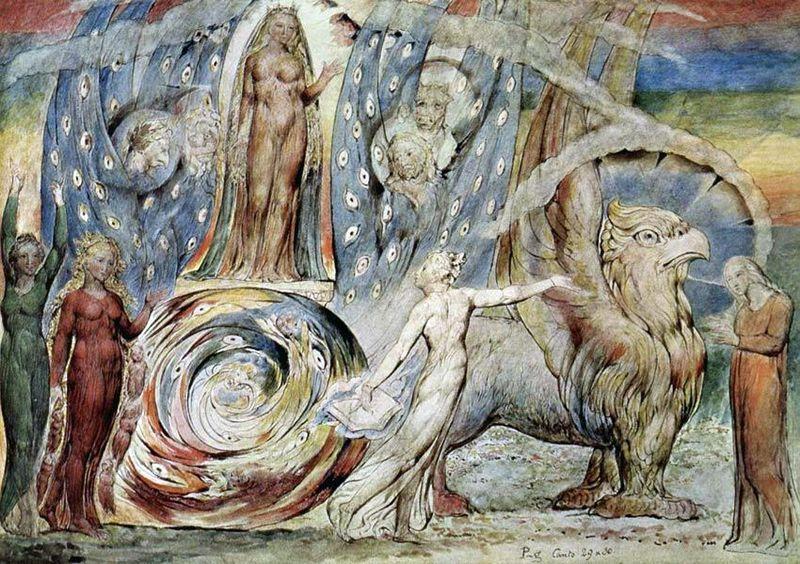 William Blake, Beatrycze zwraca się do Dantego z wozu, 1824-7 Dante and  Beatrice by William Blake | William blake paintings, William blake art,  William blake