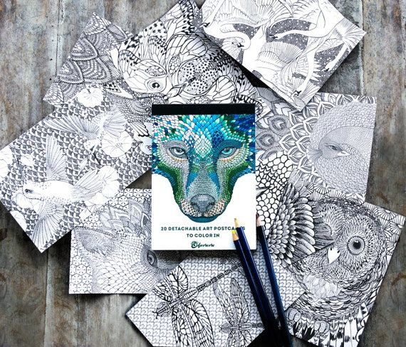 Adult Coloring Book Pages Art Postcards Cards Hand