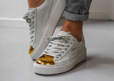 buy popular 37f51 45076 white Puma Fenty Creepers with black sole   Puma Suede Platform Creepers  Gold Metal Toe (White   Black)