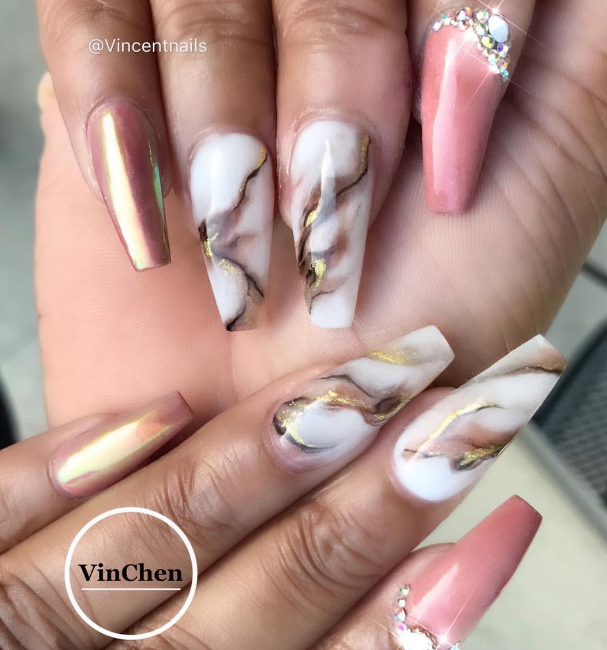 Pink Brown Gold Nail Color | Marble Nail Art Design | Diamond on ...