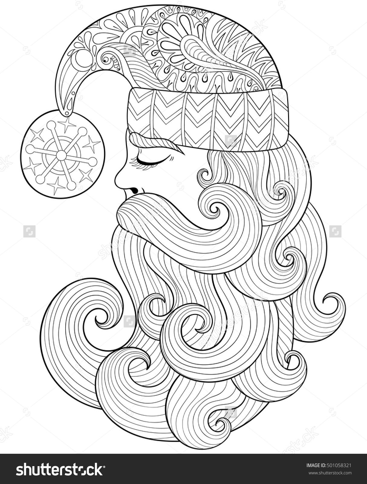 Vector Christmas Illustration Zentangle Santa Claus For